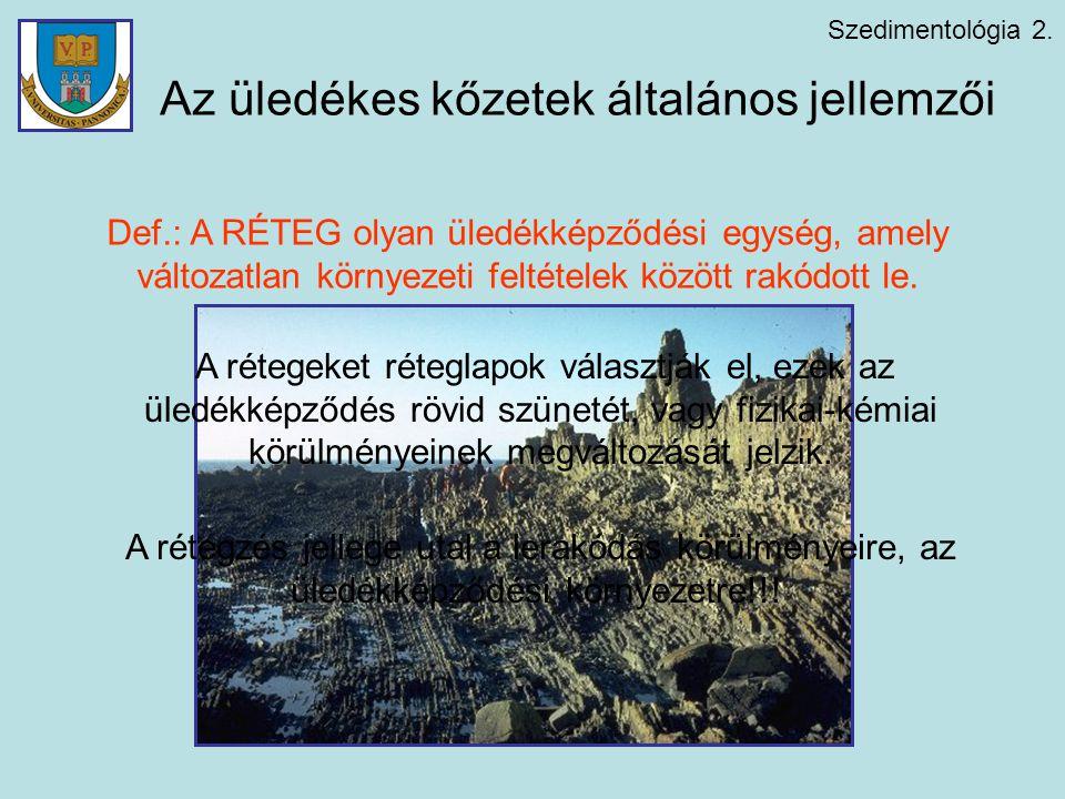 Szedimentológia 2. Az üledékes kőzetek általános jellemzői Def.: A RÉTEG olyan üledékképződési egység, amely változatlan környezeti feltételek között