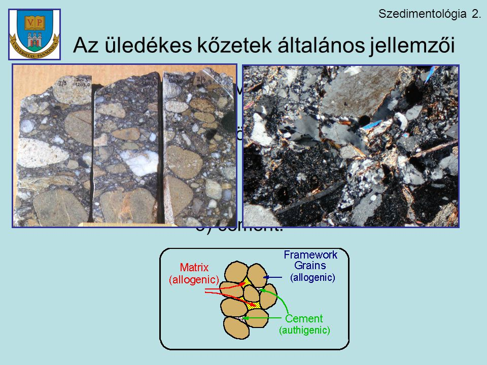 Szedimentológia 2. Az üledékes kőzetek általános jellemzői Elegyrészei szöveti szempontból: 1) vázszemcsék (törmelékszemcsék); 2) finom szemcsés alapa
