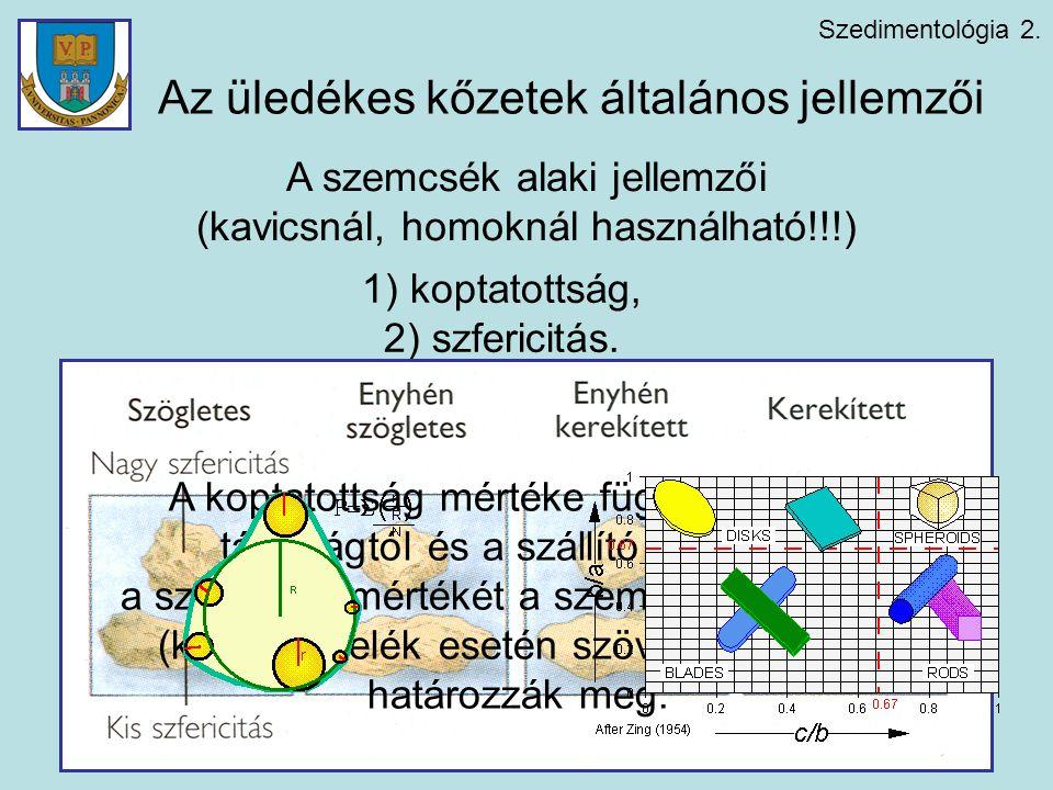 Szedimentológia 2. A szemcsék alaki jellemzői (kavicsnál, homoknál használható!!!) 1) koptatottság, 2) szfericitás. A koptatottság mértéke függ a szál