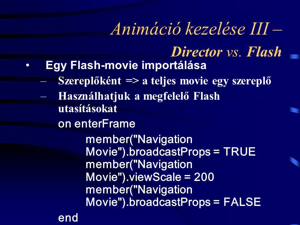 Animáció kezelése III – Director vs. Flash Egy Flash-movie importálása –Szereplőként => a teljes movie egy szereplő –Használhatjuk a megfelelő Flash u