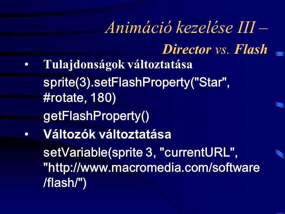Animáció kezelése III – Director vs. Flash Tulajdonságok változtatása sprite(3).setFlashProperty(