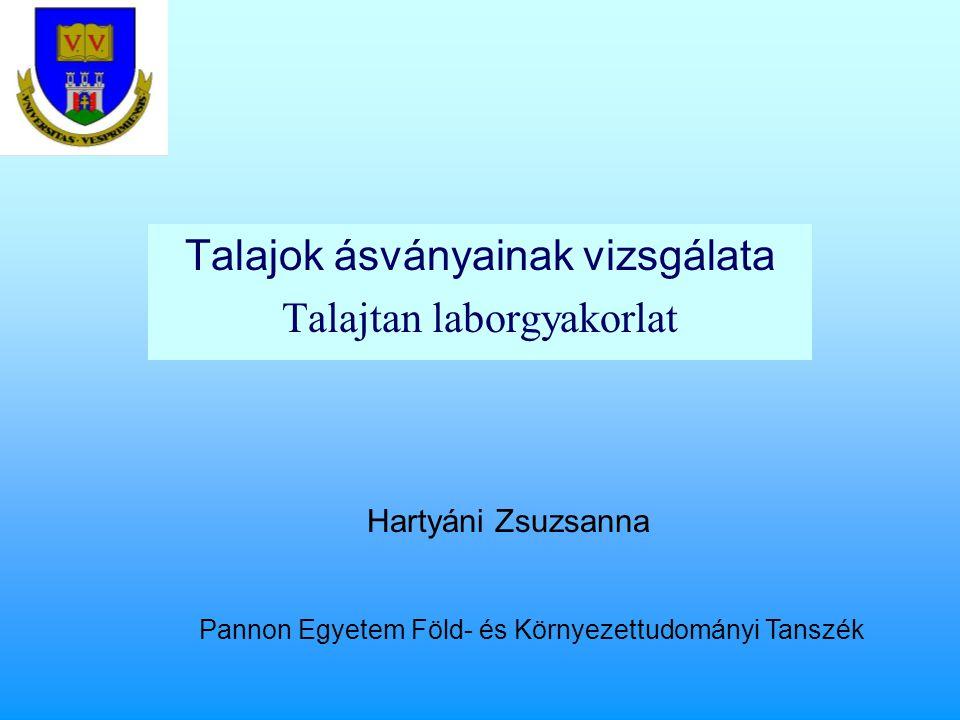 Talajok ásványainak vizsgálata Talajtan laborgyakorlat Hartyáni Zsuzsanna Pannon Egyetem Föld- és Környezettudományi Tanszék
