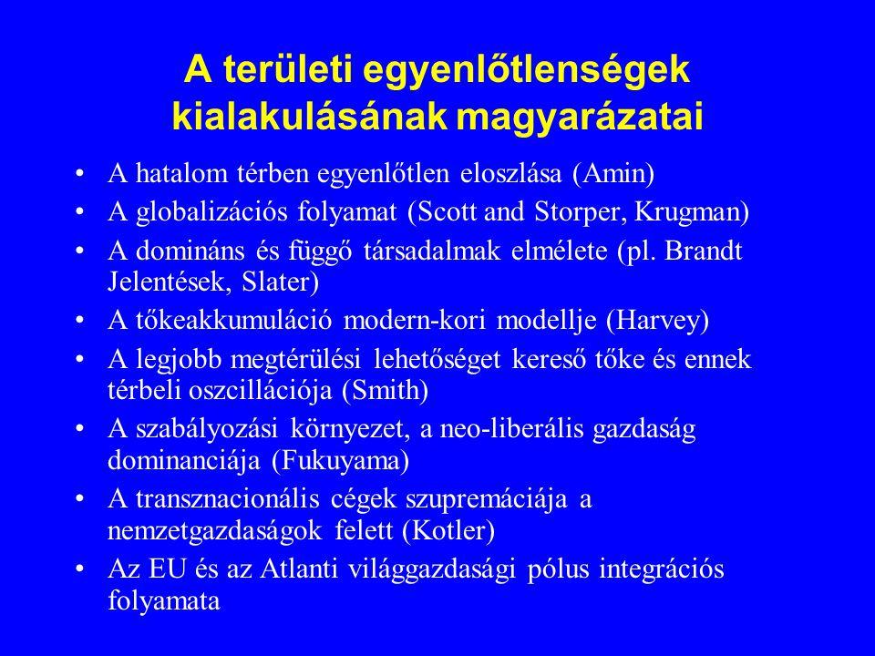 A területi egyenlőtlenségek kialakulásának magyarázatai A hatalom térben egyenlőtlen eloszlása (Amin) A globalizációs folyamat (Scott and Storper, Krugman) A domináns és függő társadalmak elmélete (pl.