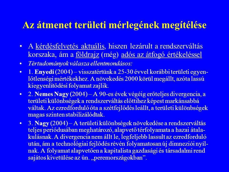 HDI értékek, 1990; 1996; 2000; 2004 (saját számítás) Megye1990199620002004 Budapest0,9530,9830,9210,952 Pest0,7280,6910,8040,764 Fejér0,7580,7240,8020,743 Komárom-Esztergom0,7740,7110,8280,763 Veszprém0,7590,7530,8990,738 Győr-Moson-Sopron0,8150,8050,9310,783 Vas0,8010,7490,9080,747 Zala0,7270,7140,7540,741 Baranya0,7110,6600,7320,676 Somogy0,7100,6470,6910,643 Tolna0,7330,6320,7150,688 Borsod-Abaúj-Zemplén0,7000,5990,6390,600 Heves0,7150,6560,7260,689 Nógrád0,6980,6340,6660,674 Hajdú-Bihar0,6660,6150,6560,651 Jász-Nagykun-Szolnok0,6850,6300,6660,630 Szabolcs-Szatmár-Bereg0,6270,5480,5960,590 Bács-Kiskun0,6850,6360,6970,652 Békés0,7230,6650,7200,648 Csongrád0,7410,6980,8390,715 ORSZÁG0,7660,6730,7470,708