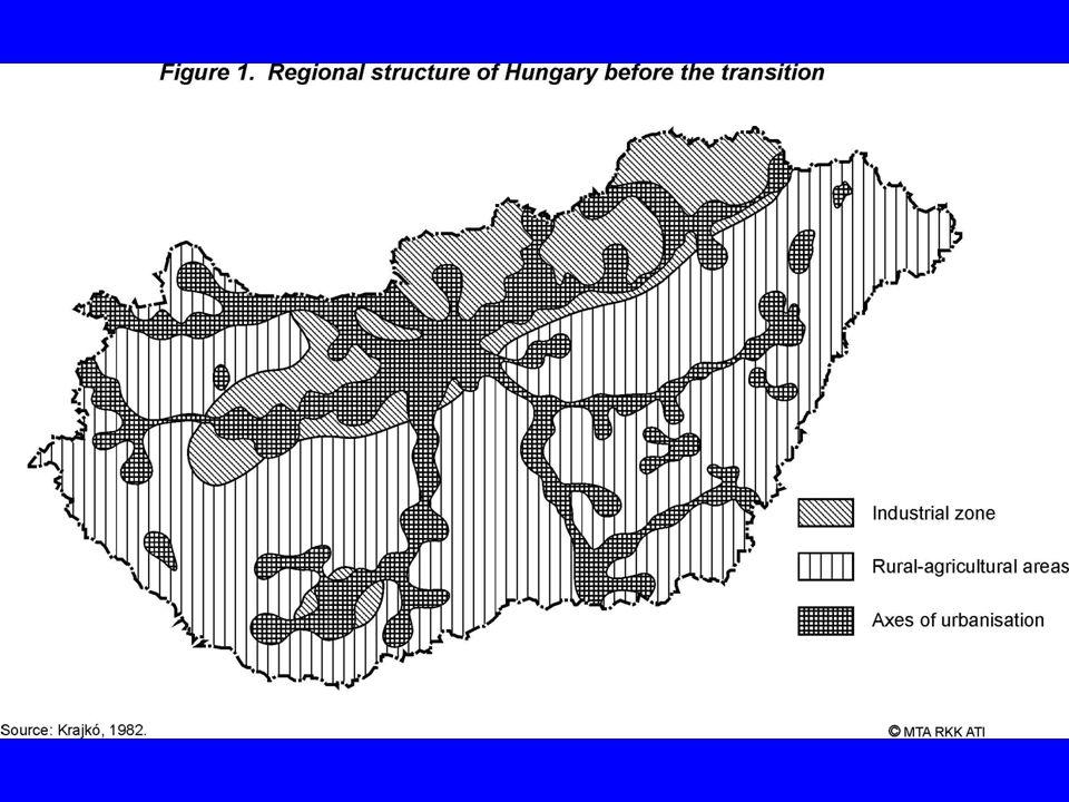 A rendszerváltás előtti reformlépések és hatásuk a térszerkezetre A nagyvállalatok növekvő autonómiája a beruházási politi- kájuk alakításában (1975) A mezőgazdaság vegyes modelljének kiformálása: ÁG, TSZ, szakszövetkezet, háztáji, magán (1968) Kisméretű magán és kvázi-magánszervezetek növekvő szerepe az iparban (1982) A magánszféra megerősödése a szolgáltatásokban (gebin, lízing-típusú konstrukciók, majd egyéni tulajdon 1982) Jogi és szervezeti reformok (1987) A folyamat mérlege: mérsékelten növekvő területi kü- lönbségek az időszak vége felé regionális szinten, erősödő mozaikosság települési szinten.