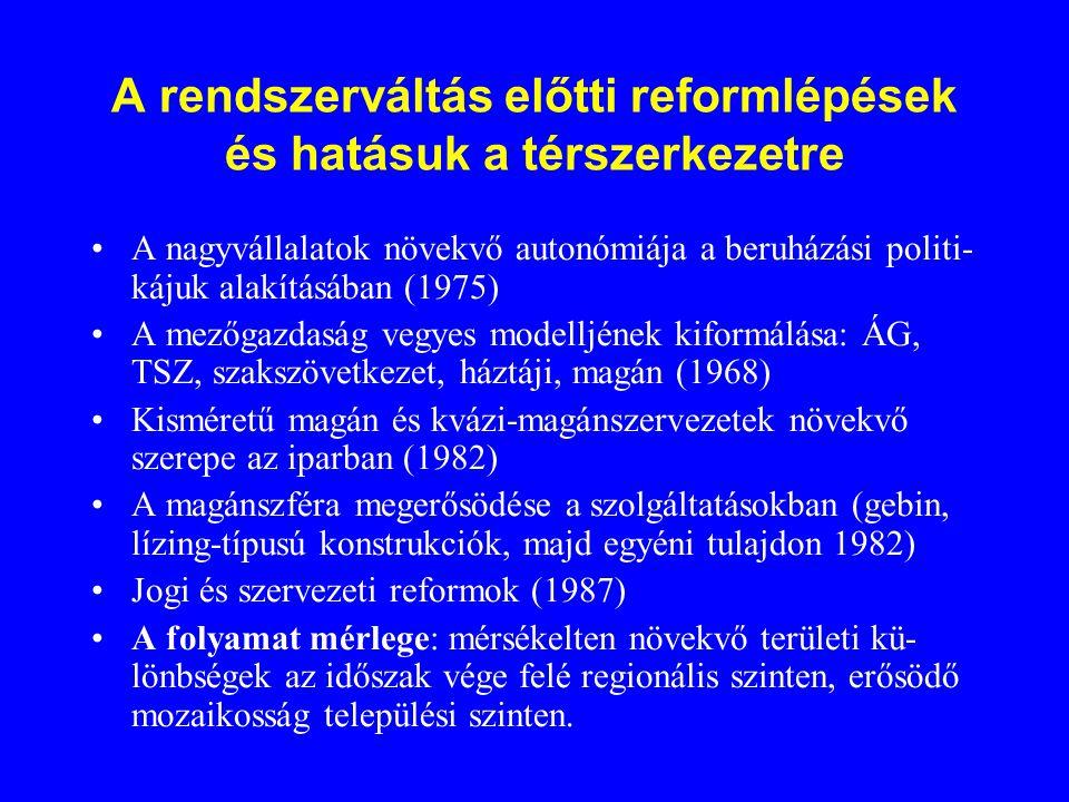 A rendszerváltás előtti reformlépések és hatásuk a térszerkezetre A nagyvállalatok növekvő autonómiája a beruházási politi- kájuk alakításában (1975)