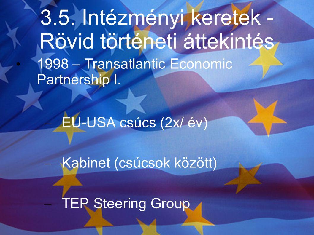 3.5. Intézményi keretek - Rövid történeti áttekintés 1998 – Transatlantic Economic Partnership I. – EU-USA csúcs (2x/ év) – Kabinet (csúcsok között) –