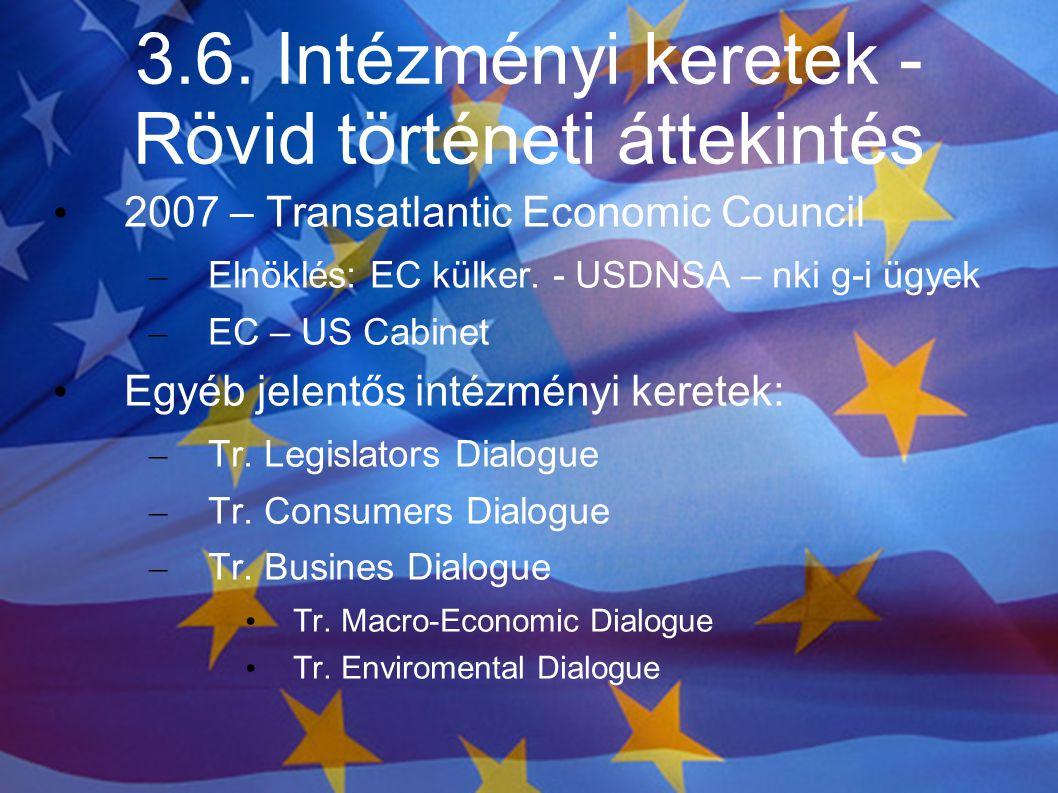 3.6. Intézményi keretek - Rövid történeti áttekintés 2007 – Transatlantic Economic Council – Elnöklés: EC külker. - USDNSA – nki g-i ügyek – EC – US C