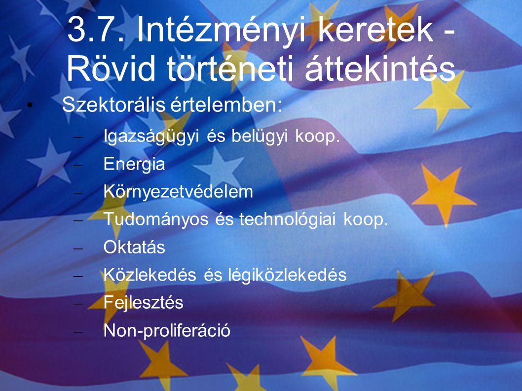 3.7. Intézményi keretek - Rövid történeti áttekintés Szektorális értelemben: – Igazságügyi és belügyi koop. – Energia – Környezetvédelem – Tudományos