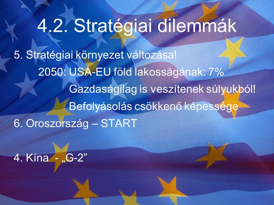 4.2. Stratégiai dilemmák 5. Stratégiai környezet változása! 2050: USA-EU föld lakosságának: 7% Gazdaságilag is veszítenek súlyukból! Befolyásolás csök