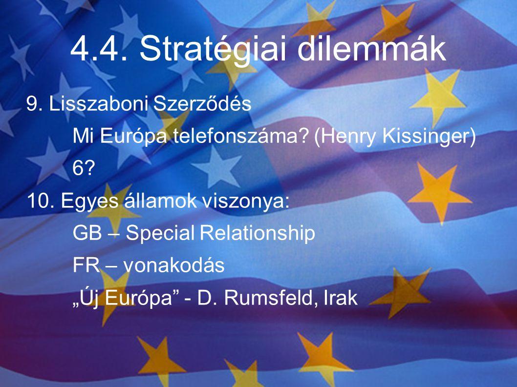 4.4. Stratégiai dilemmák 9. Lisszaboni Szerződés Mi Európa telefonszáma? (Henry Kissinger) 6? 10. Egyes államok viszonya: GB – Special Relationship FR