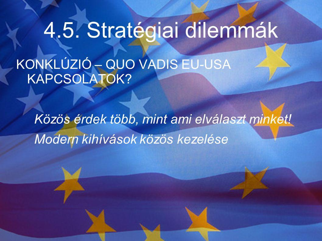 4.5. Stratégiai dilemmák KONKLÚZIÓ – QUO VADIS EU-USA KAPCSOLATOK? Közös érdek több, mint ami elválaszt minket! Modern kihívások közös kezelése