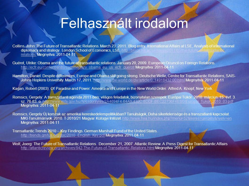 Felhasznált irodalom Collins, John: The Future of Transatlantic Relations. March 23, 2011. Blog entry. International Affairs at LSE, Analysis of inter