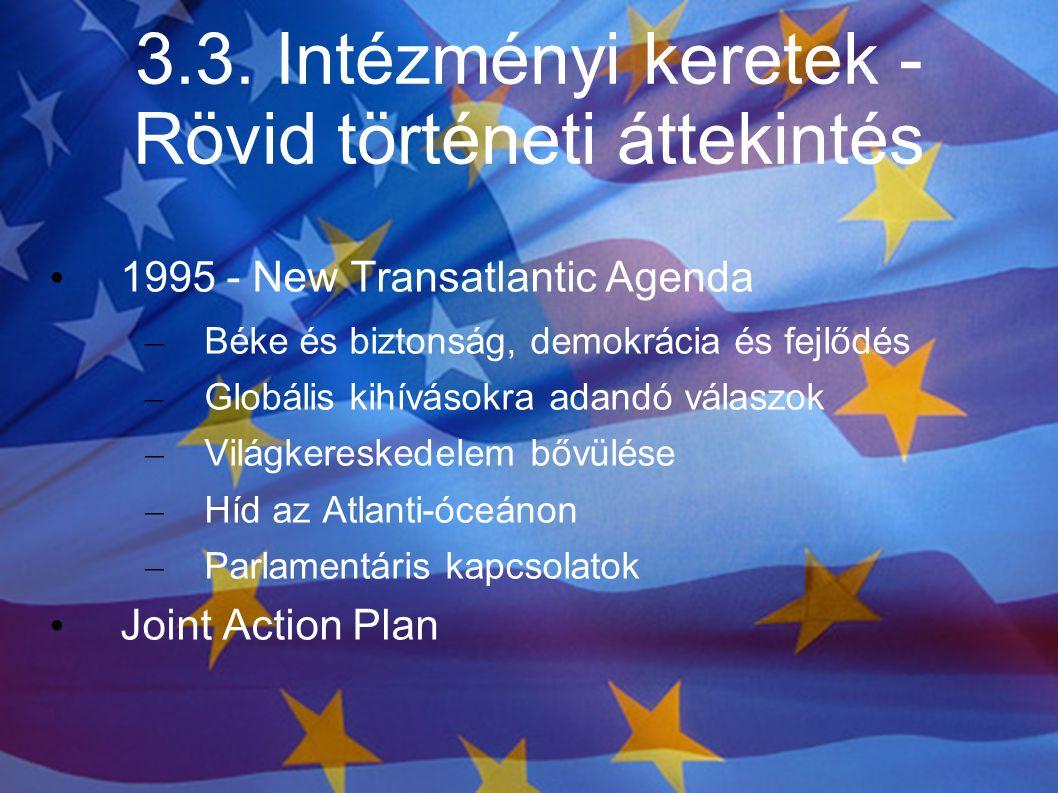 3.3. Intézményi keretek - Rövid történeti áttekintés 1995 - New Transatlantic Agenda – Béke és biztonság, demokrácia és fejlődés – Globális kihívásokr
