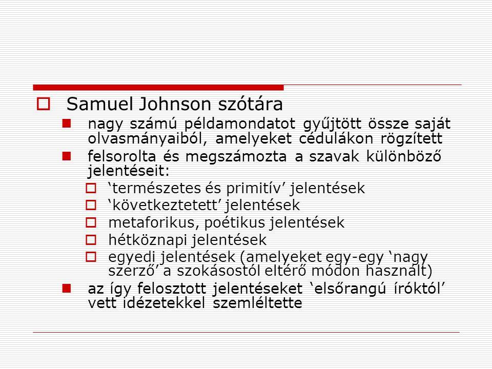  Samuel Johnson szótára nagy számú példamondatot gyűjtött össze saját olvasmányaiból, amelyeket cédulákon rögzített felsorolta és megszámozta a szava