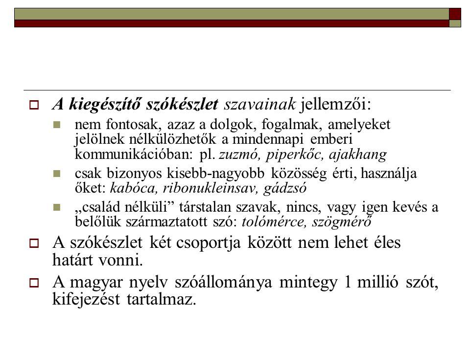 A szókincs  A szókincs az egyén nyelvi kincse, az általa használt, illetve csak ismert szavak összessége.