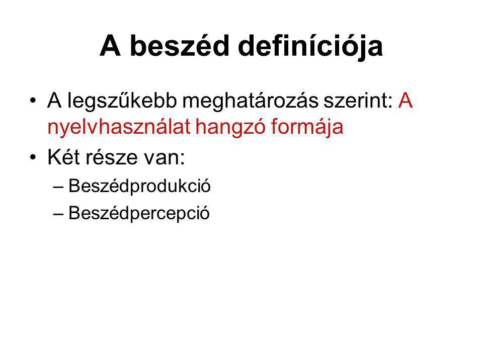 A beszéd definíciója A legszűkebb meghatározás szerint: A nyelvhasználat hangzó formája Két része van: –Beszédprodukció –Beszédpercepció