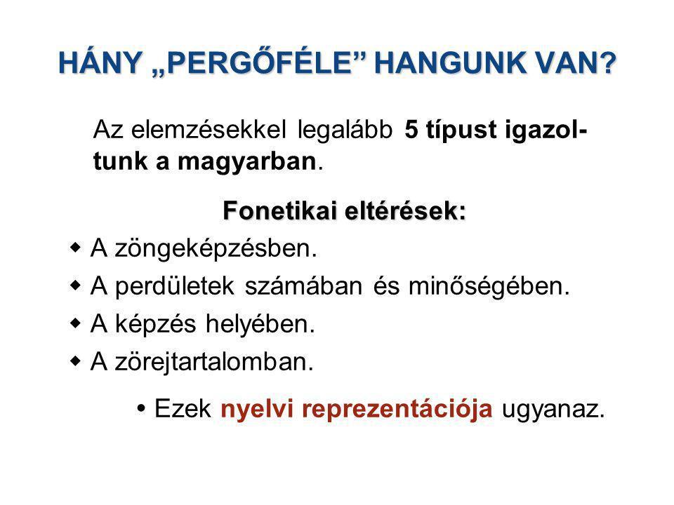 """HÁNY """"PERGŐFÉLE"""" HANGUNK VAN? Az elemzésekkel legalább 5 típust igazol- tunk a magyarban. Fonetikai eltérések:  A zöngeképzésben.  A perdületek szám"""