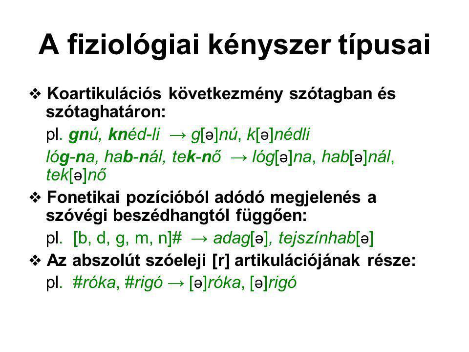 A fiziológiai kényszer típusai  Koartikulációs következmény szótagban és szótaghatáron: pl. gnú, knéd-li → g[ ə ]nú, k[ ə ]nédli lóg-na, hab-nál, tek