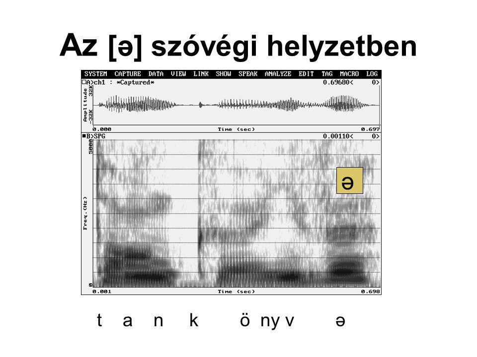 Az [ə] szóvégi helyzetben ə t a n k ö ny v ə