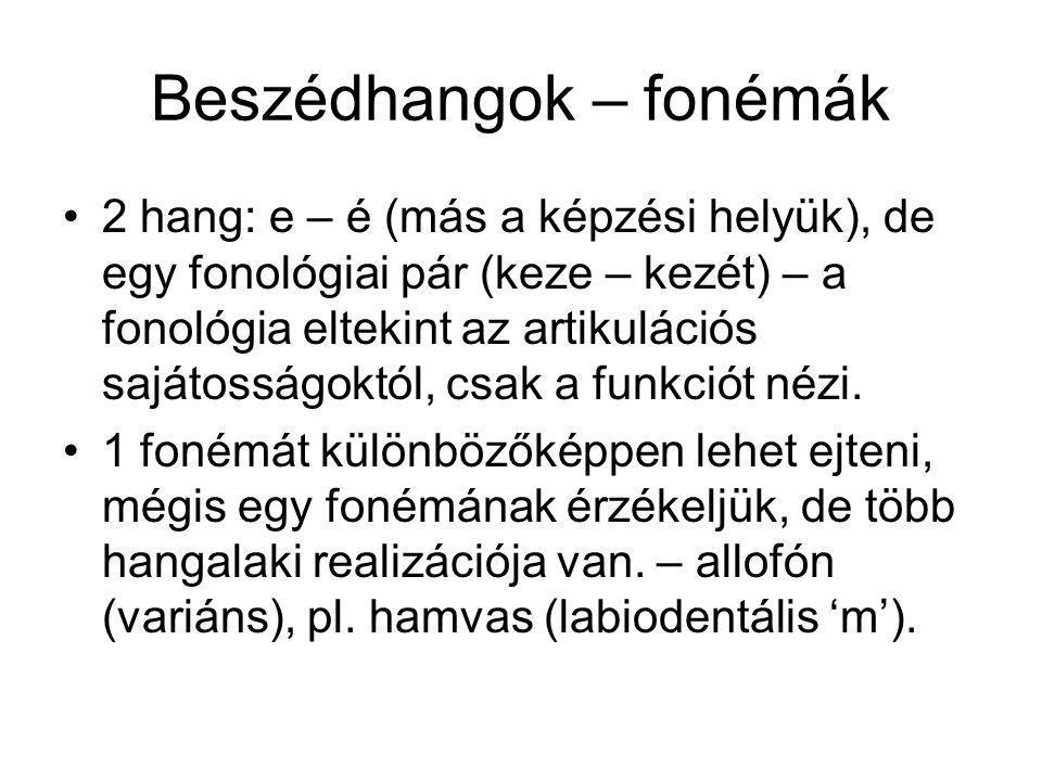 Beszédhangok – fonémák 2 hang: e – é (más a képzési helyük), de egy fonológiai pár (keze – kezét) – a fonológia eltekint az artikulációs sajátosságokt