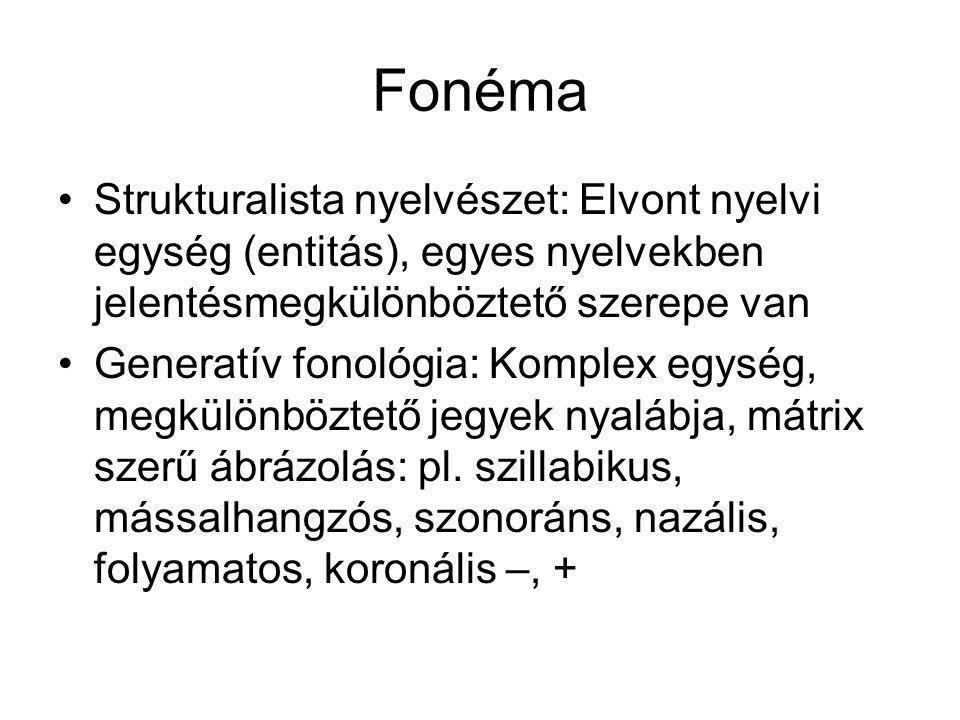 Fonéma Strukturalista nyelvészet: Elvont nyelvi egység (entitás), egyes nyelvekben jelentésmegkülönböztető szerepe van Generatív fonológia: Komplex eg