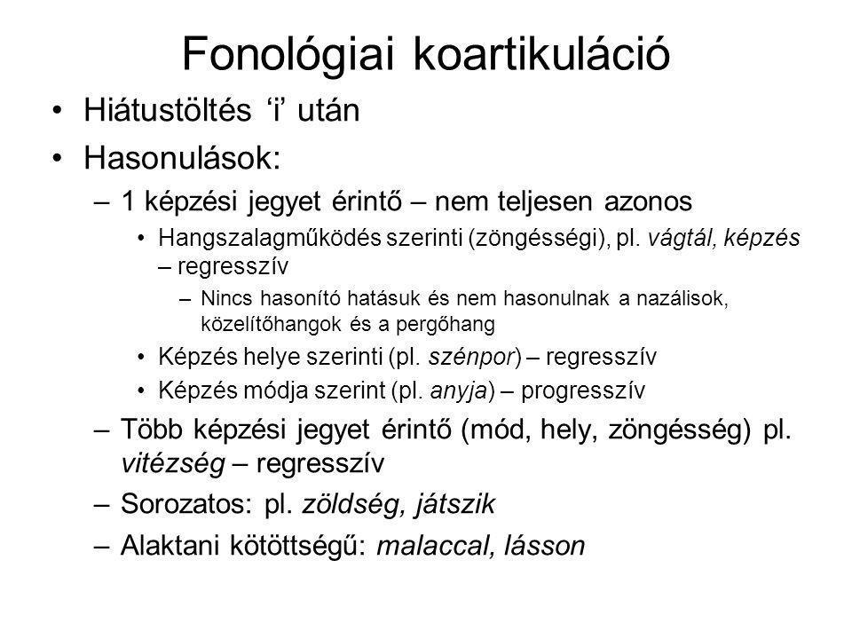 Fonológiai koartikuláció Hiátustöltés 'i' után Hasonulások: –1 képzési jegyet érintő – nem teljesen azonos Hangszalagműködés szerinti (zöngésségi), pl