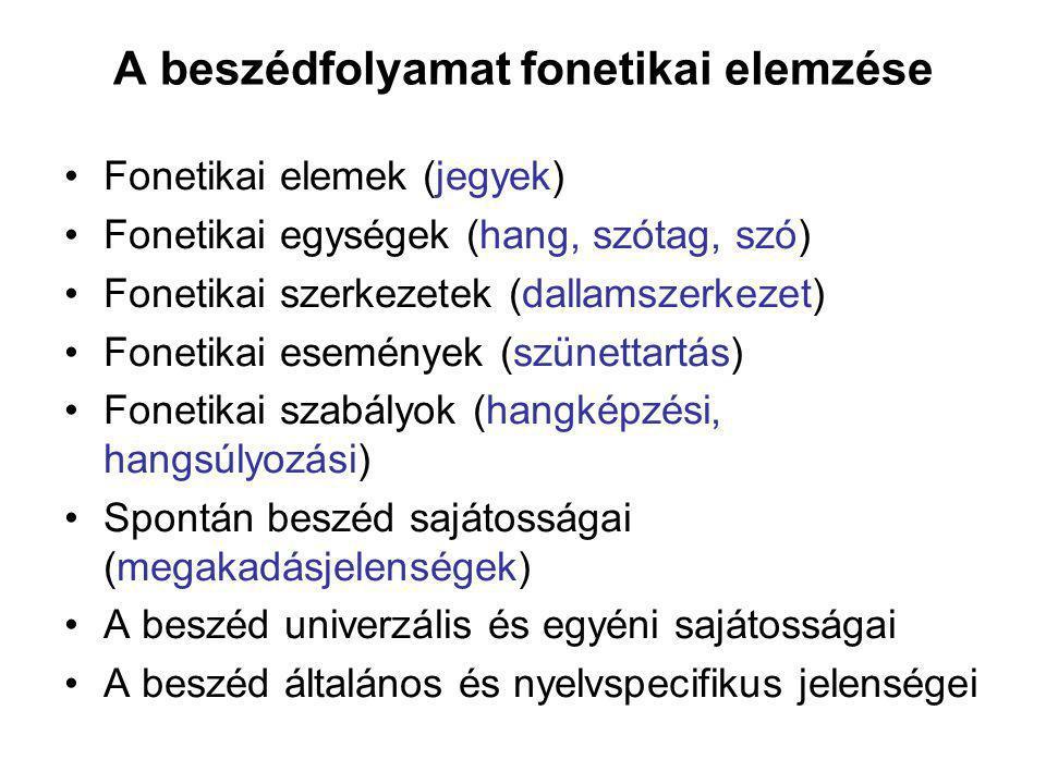 A beszédfolyamat fonetikai elemzése Fonetikai elemek (jegyek) Fonetikai egységek (hang, szótag, szó) Fonetikai szerkezetek (dallamszerkezet) Fonetikai