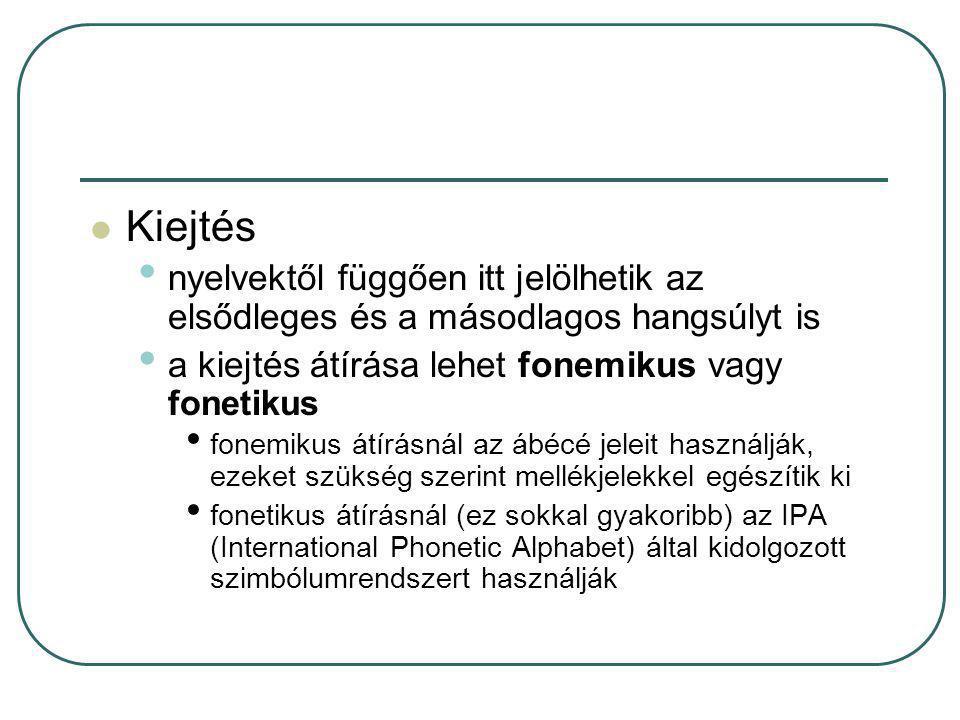 Kiejtés nyelvektől függően itt jelölhetik az elsődleges és a másodlagos hangsúlyt is a kiejtés átírása lehet fonemikus vagy fonetikus fonemikus átírás