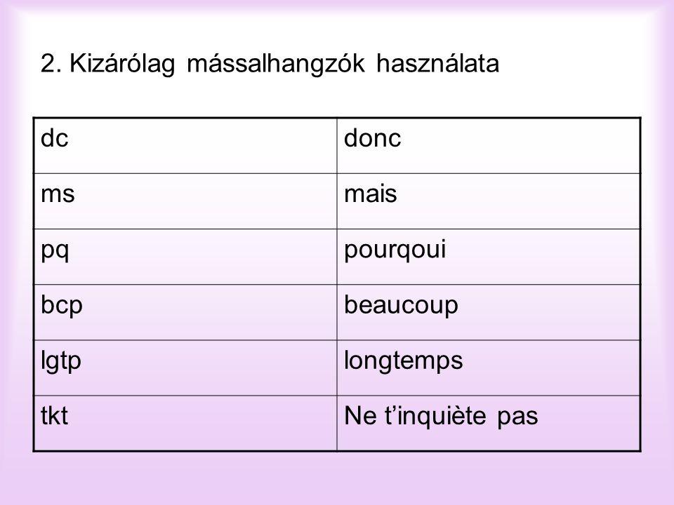 2. Kizárólag mássalhangzók használata dcdonc msmais pqpourqoui bcpbeaucoup lgtplongtemps tktNe t'inquiète pas