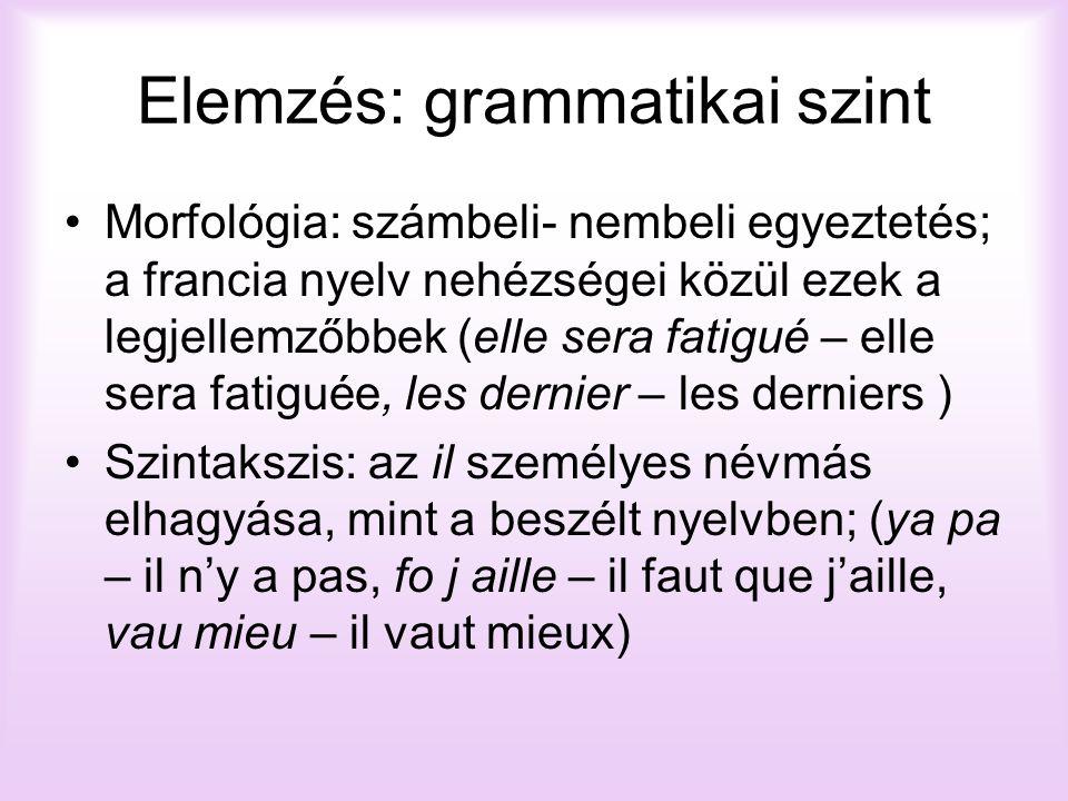 Elemzés: grammatikai szint Morfológia: számbeli- nembeli egyeztetés; a francia nyelv nehézségei közül ezek a legjellemzőbbek (elle sera fatigué – elle