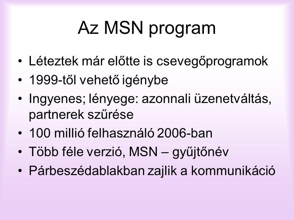 Az MSN program Léteztek már előtte is csevegőprogramok 1999-től vehető igénybe Ingyenes; lényege: azonnali üzenetváltás, partnerek szűrése 100 millió felhasználó 2006-ban Több féle verzió, MSN – gyűjtőnév Párbeszédablakban zajlik a kommunikáció