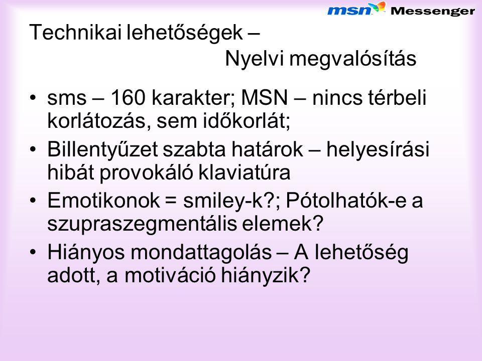 Technikai lehetőségek – Nyelvi megvalósítás sms – 160 karakter; MSN – nincs térbeli korlátozás, sem időkorlát; Billentyűzet szabta határok – helyesírá