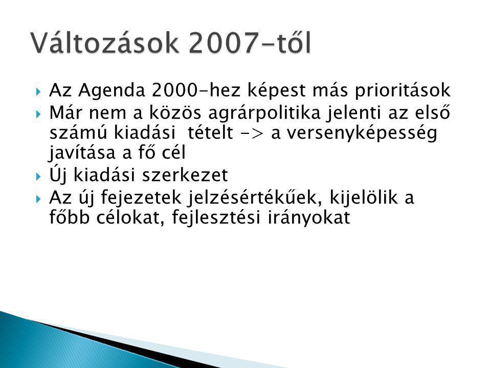  Az Agenda 2000-hez képest más prioritások  Már nem a közös agrárpolitika jelenti az első számú kiadási tételt -> a versenyképesség javítása a fő cél  Új kiadási szerkezet  Az új fejezetek jelzésértékűek, kijelölik a főbb célokat, fejlesztési irányokat