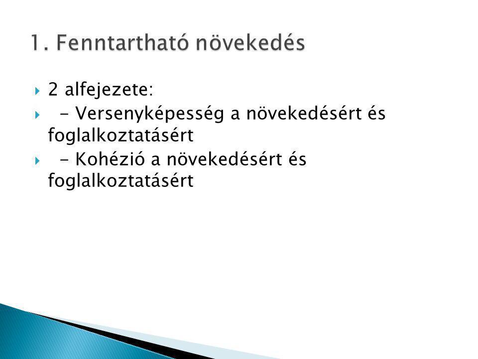  2 alfejezete:  - Versenyképesség a növekedésért és foglalkoztatásért  - Kohézió a növekedésért és foglalkoztatásért