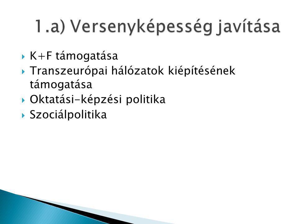  K+F támogatása  Transzeurópai hálózatok kiépítésének támogatása  Oktatási-képzési politika  Szociálpolitika