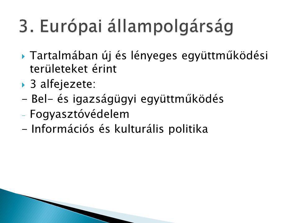  Tartalmában új és lényeges együttműködési területeket érint  3 alfejezete: - Bel- és igazságügyi együttműködés - Fogyasztóvédelem - Információs és kulturális politika