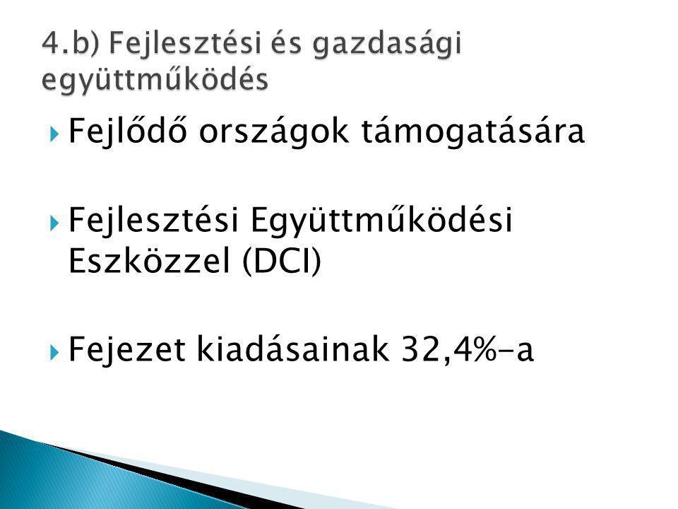  Fejlődő országok támogatására  Fejlesztési Együttműködési Eszközzel (DCI)  Fejezet kiadásainak 32,4%-a