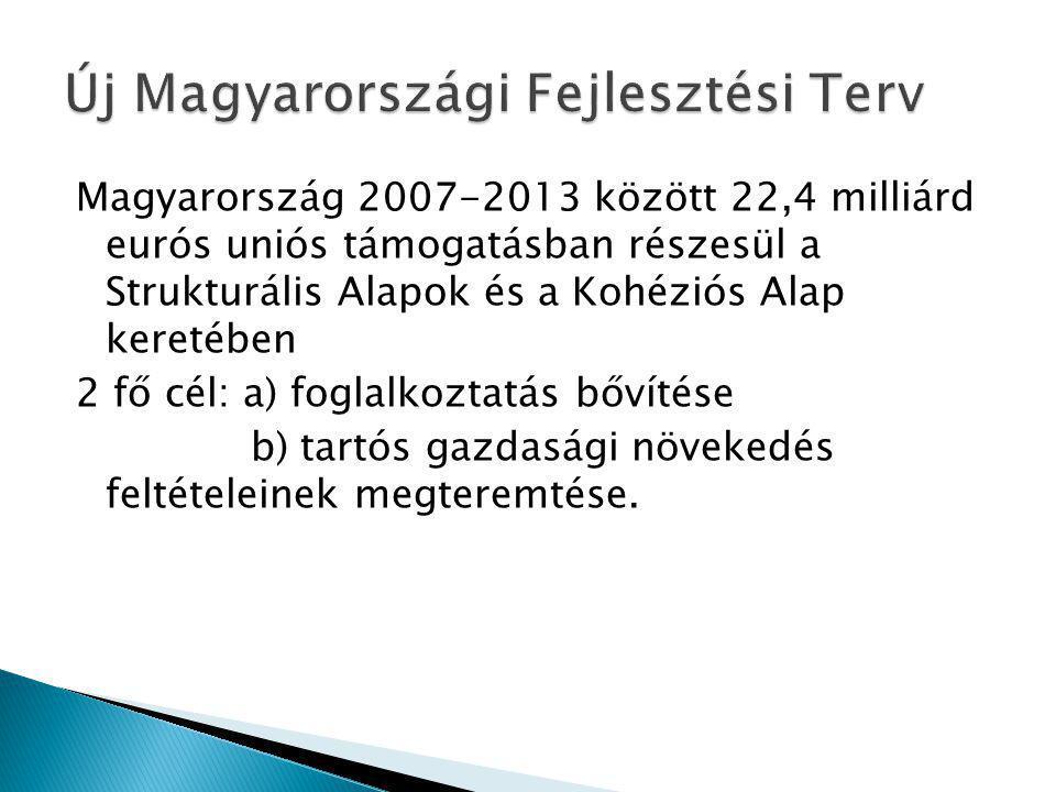 Magyarország 2007-2013 között 22,4 milliárd eurós uniós támogatásban részesül a Strukturális Alapok és a Kohéziós Alap keretében 2 fő cél: a) foglalkoztatás bővítése b) tartós gazdasági növekedés feltételeinek megteremtése.