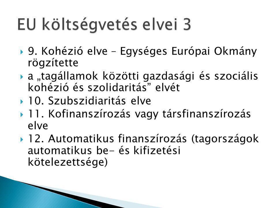 """ 9. Kohézió elve – Egységes Európai Okmány rögzítette  a """"tagállamok közötti gazdasági és szociális kohézió és szolidaritás"""" elvét  10. Szubszidiar"""