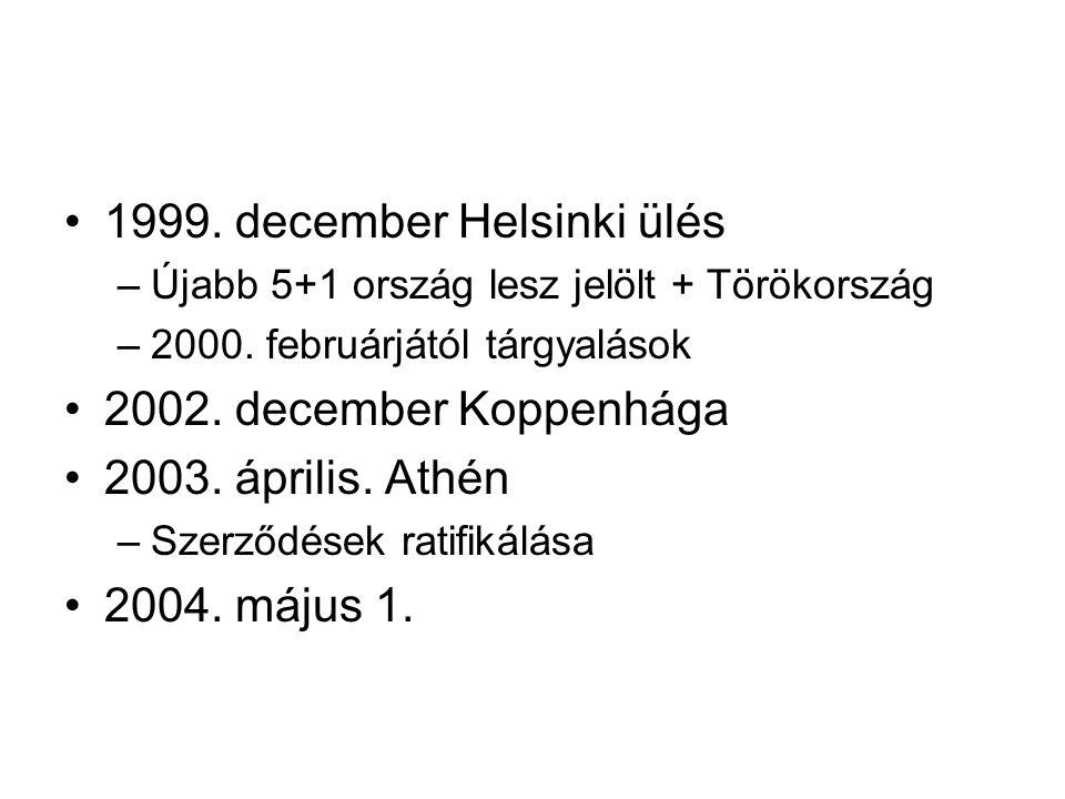 1999. december Helsinki ülés –Újabb 5+1 ország lesz jelölt + Törökország –2000. februárjától tárgyalások 2002. december Koppenhága 2003. április. Athé