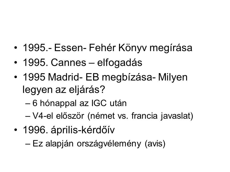 1995.- Essen- Fehér Könyv megírása 1995. Cannes – elfogadás 1995 Madrid- EB megbízása- Milyen legyen az eljárás? –6 hónappal az IGC után –V4-el előszö