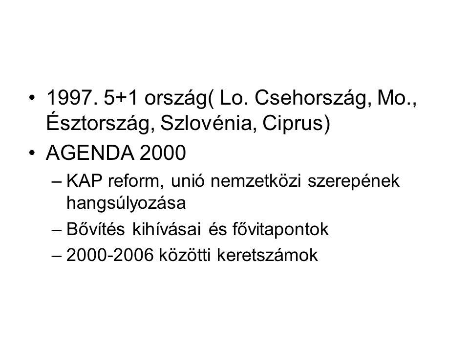 1997. 5+1 ország( Lo. Csehország, Mo., Észtország, Szlovénia, Ciprus) AGENDA 2000 –KAP reform, unió nemzetközi szerepének hangsúlyozása –Bővítés kihív