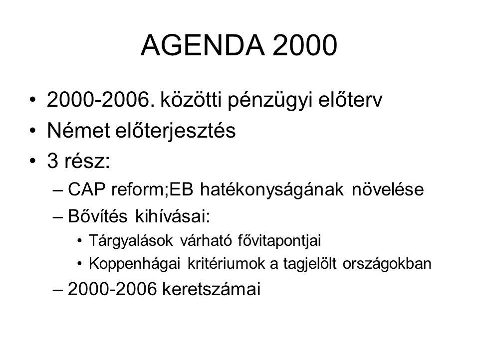 AGENDA 2000 2000-2006. közötti pénzügyi előterv Német előterjesztés 3 rész: –CAP reform;EB hatékonyságának növelése –Bővítés kihívásai: Tárgyalások vá
