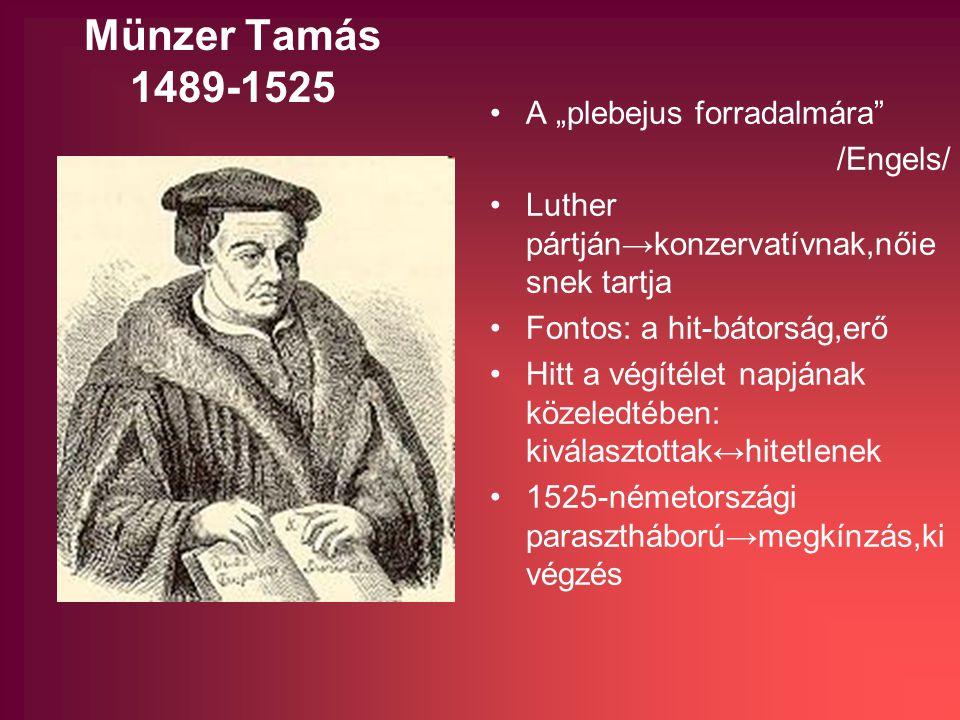 """Münzer Tamás 1489-1525 A """"plebejus forradalmára /Engels/ Luther pártján→konzervatívnak,nőie snek tartja Fontos: a hit-bátorság,erő Hitt a végítélet napjának közeledtében: kiválasztottak↔hitetlenek 1525-németországi parasztháború→megkínzás,ki végzés"""