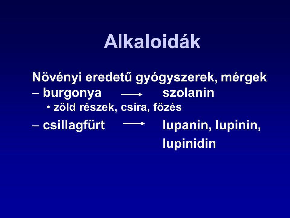 Alkaloidák Növényi eredetű gyógyszerek, mérgek – burgonya szolanin zöld részek, csíra, főzés – csillagfürt lupanin, lupinin, lupinidin