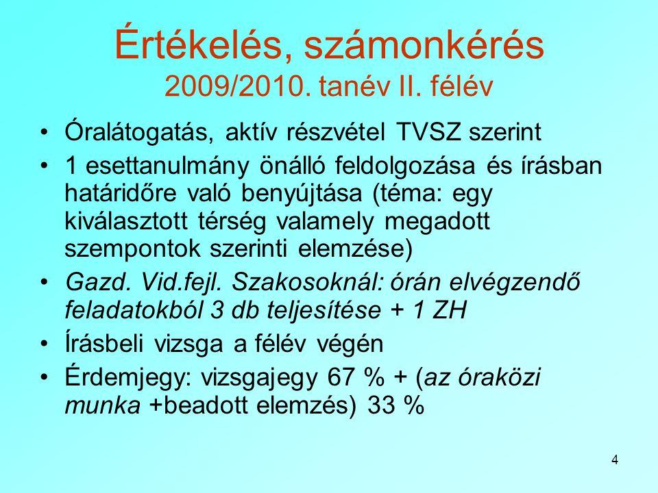 4 Értékelés, számonkérés 2009/2010. tanév II. félév Óralátogatás, aktív részvétel TVSZ szerint 1 esettanulmány önálló feldolgozása és írásban határidő