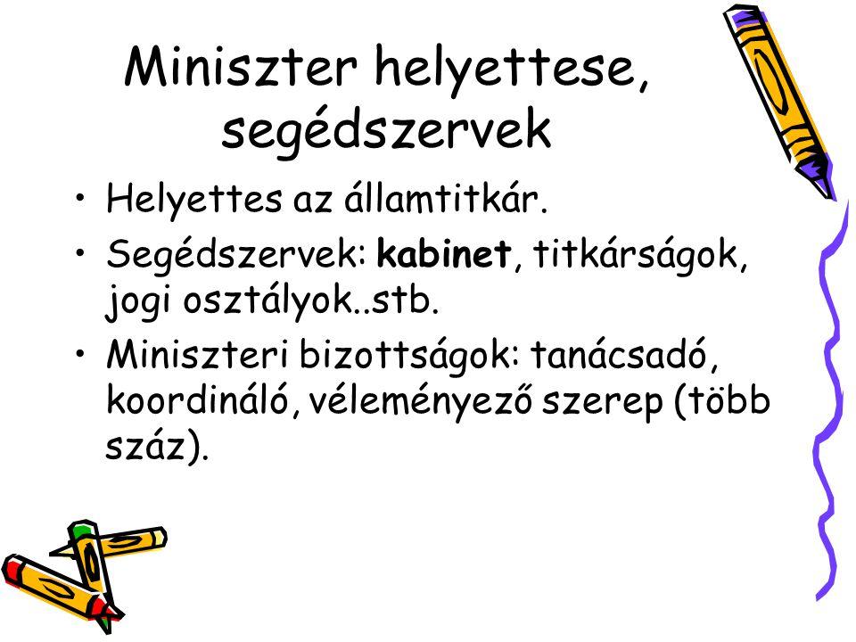 Miniszter helyettese, segédszervek Helyettes az államtitkár. Segédszervek: kabinet, titkárságok, jogi osztályok..stb. Miniszteri bizottságok: tanácsad