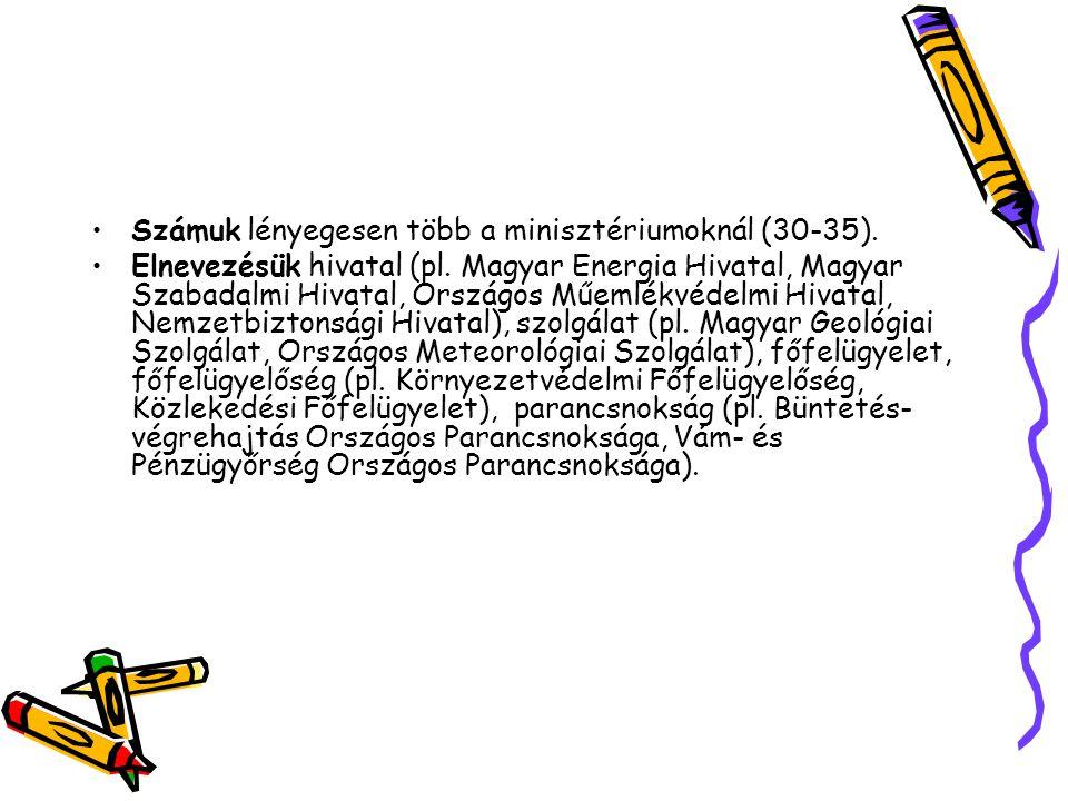 Számuk lényegesen több a minisztériumoknál (30-35). Elnevezésük hivatal (pl. Magyar Energia Hivatal, Magyar Szabadalmi Hivatal, Országos Műemlékvédelm