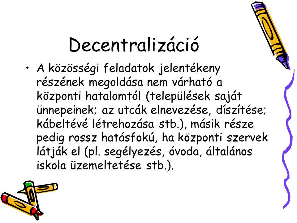 Decentralizáció A közösségi feladatok jelentékeny részének megoldása nem várható a központi hatalomtól (települések saját ünnepeinek; az utcák elnevez
